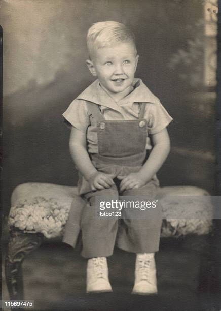 Vintage photograph portrait. Antique. Little boy. 1940s era.