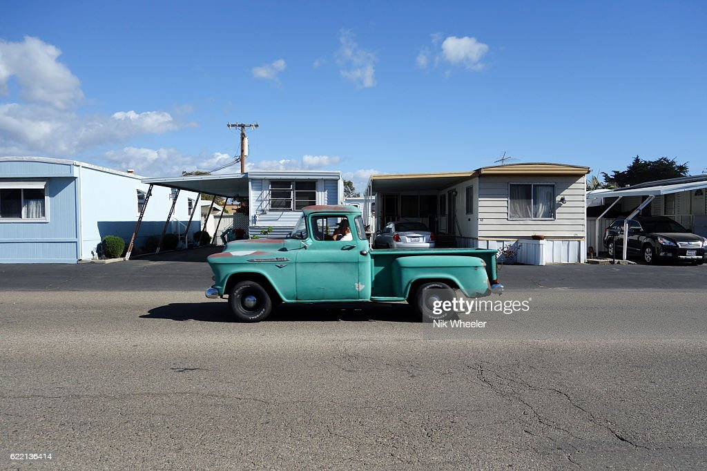 Vintage Pickup Truck Pass Mobile Homes In Trailer Park Grover Beach Near Pismo