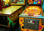 Vintage Pinball Machines in Arcade