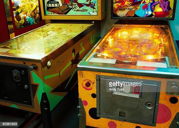 Vintage Pinball Machines in Arcade