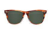 Vintage tortoise shell style plastic sunglasses isolated on white with clipping path. Top view