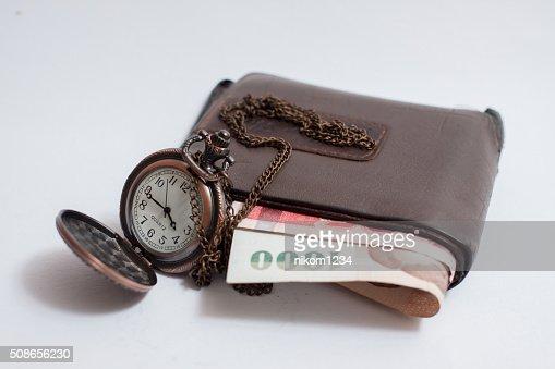 Vintage pocket watch,wallet : Stock Photo