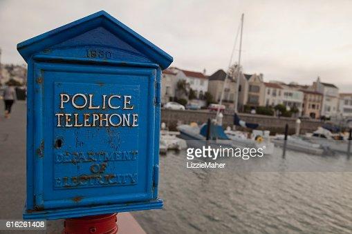Vintage Police Telephone Box : Stock Photo