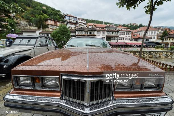 A vintage Pontiac car is displayed during the 12th Old Timer Fest on July 17 2017 in the historic city of Prizren in southern Kosovo / AFP PHOTO /...