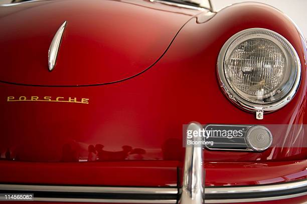A vintage Porsche SE automobile is displayed at an event in Beijing China on Saturday May 21 2011 Porsche forecasts record 2011 deliveries globally...
