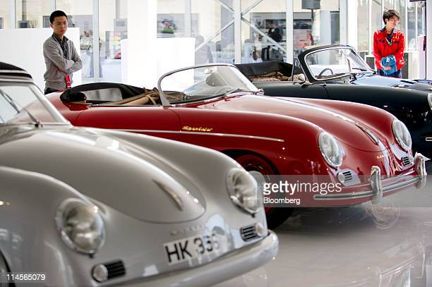 Vintage Porsche SE automobiles are displayed at an event in Beijing China on Saturday May 21 2011 Porsche forecasts record 2011 deliveries globally...