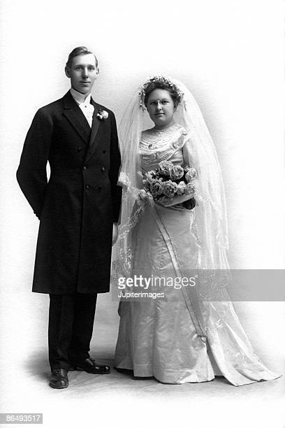 Vintage portrait of bride and groom
