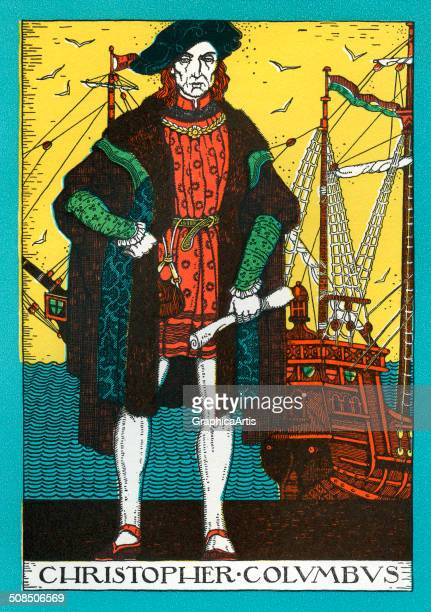 Vintage portrait of Christopher Columbus and the Santa Maria lithograph 1930