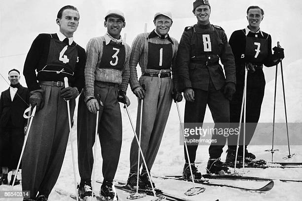 Vintage portrait of skiers