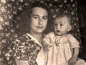 Vintage portrait of a family from the 1951 year