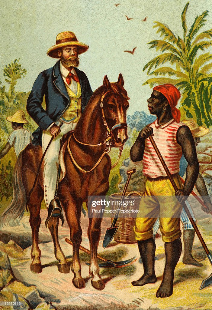 A vintage postcard featuring a white explorer riding a horse addressing a black man who is working the fields somewhere in Africa circa 1900