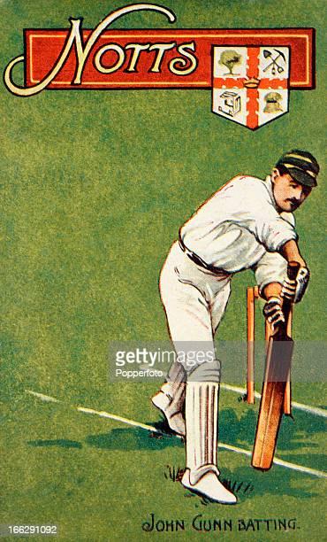 Vintage postcard featuring an illustration of Nottinghamshire and England batsman John Gunn circa 1904