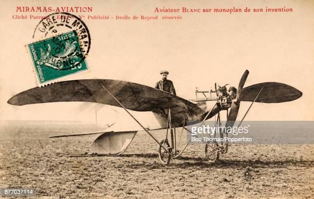 A vintage postcard featuring Monsieur Blanc with his new monoplane at Miramas near Marseille circa 1910