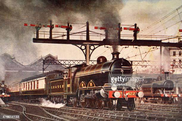A vintage postcard featuring the London Brighton South Coast Railway's 'Southern Belle' leaving Victoria Station London circa 1908