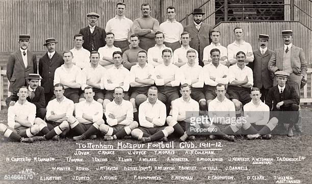 A vintage postcard featuring Tottenhan Hotspur football club circa 1912 Back row left to right J Over Charlie Rance John Joyce Tom Morris and AH...