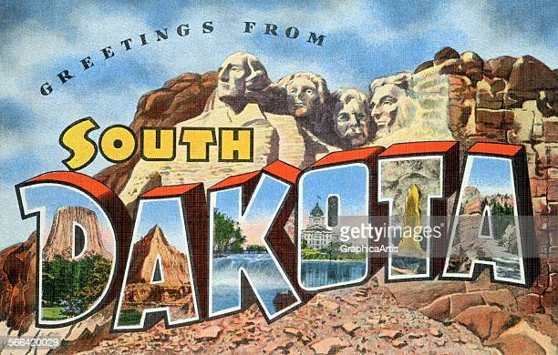 Vintage postcard from South Dakota with Mt Rushmore in the background screen print 1955