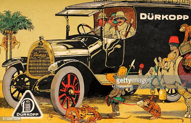 A vintage postcard illustration advertising the Durkopp Motorcar manufactured in Bielefeld Germany and featuring two soldiers wearing pith helmets...