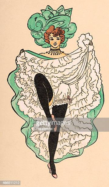 A vintage postcard illustration featuring a cancan girl wearing a large green hat and showing her frilly underwear and long black stockings circa 1910
