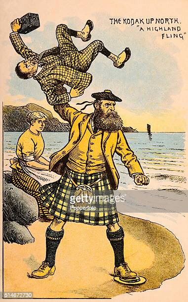A vintage postcard illustration featuring a photographer being flung by a Highlander whilst his wife looks on circa 1903