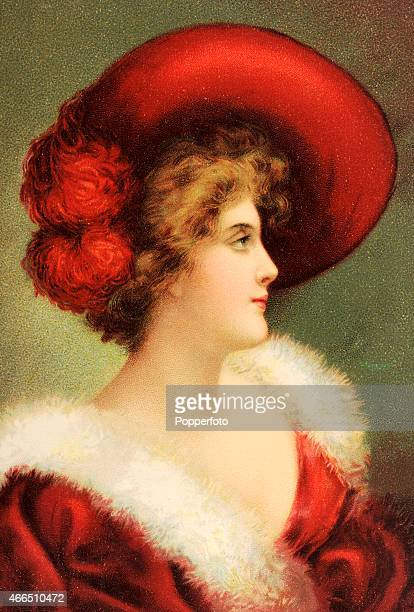 A vintage postcard illustration featuring a stylish woman in a large red hat and furtrimmed velvet gown circa 1900