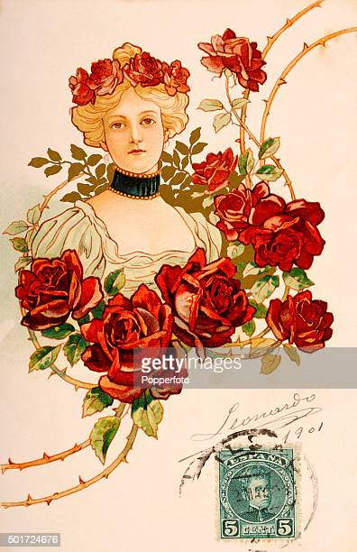 A vintage postcard illustration featuring a stylish young woman surrounded by roses on thorny stems and wearing a garland of roses in her hair posted...