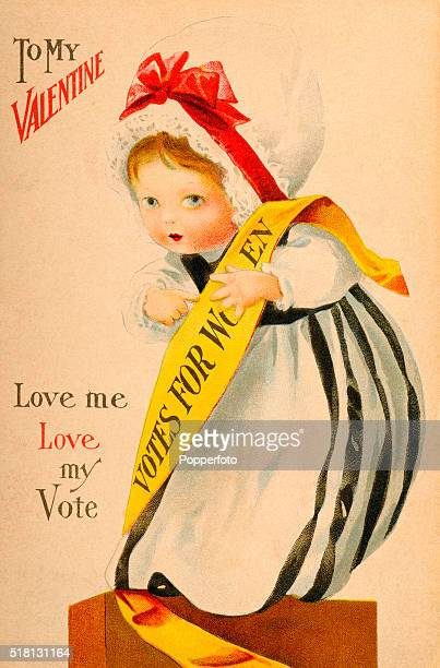 A vintage postcard illustration featuring a Valentine greeting promoting the suffragette movement and votes for women circa 1912