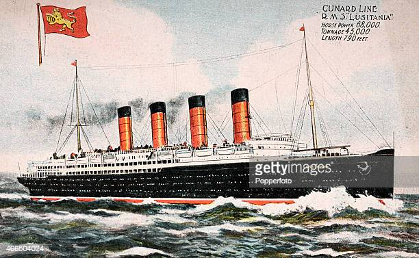 A vintage postcard illustration featuring RMS Lusitania the world's largest passenger ship which was torpedoed and sunk by a German Uboat causing the...
