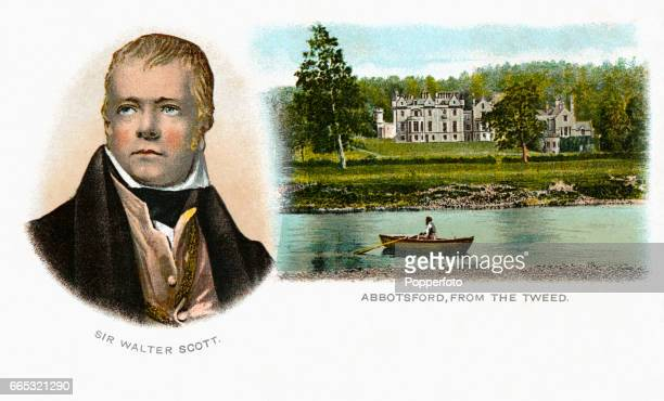 A vintage postcard illustration featuring Scottish author Sir Walter Scott and his home Abbotsford viewed from the River Tweed circa 1820