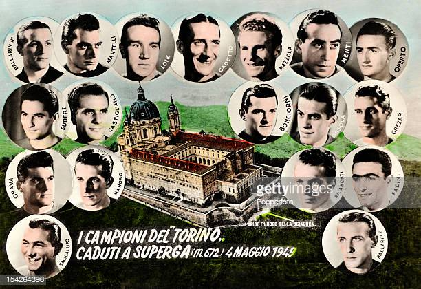 A vintage postcard issued to commemorate the air crash which claimed the lives of many Torino football players and officials 4th May 1949