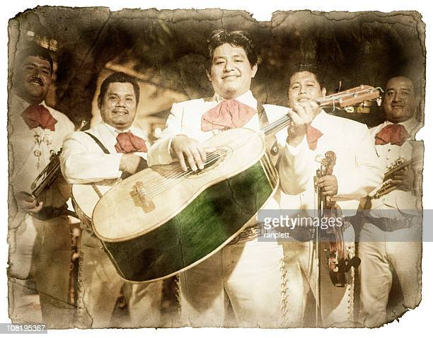 Retro Postkarte mit einer Mariachi-Band (XXL, Clipping Path