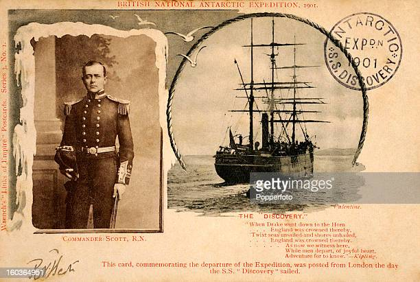 A vintage postcard of Robert Falcon Scott commemorating the start of the voyage of 'The Discovery' captained by Scott en route to the Antarctic on...