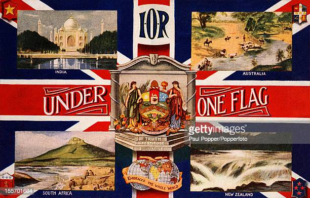 A vintage postcard showing India Australia South Africa and New Zealand under one flag as members of the British Empire circa 1910