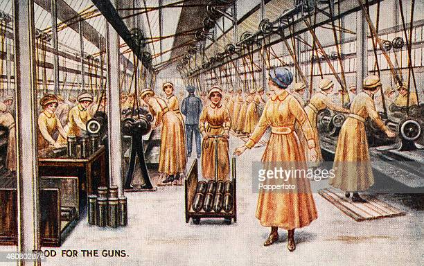 A vintage postcard sold in aid of the War Bond campaign featuring women working in a bomb factory during World War One circa 1916