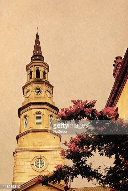 Vintage postcard style colonial church