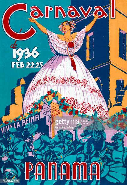 Vintage poster 'Carnaval de 1936 Feb 2225 Panama' depicting the carnival queen on a parade float 1936 Lithograph