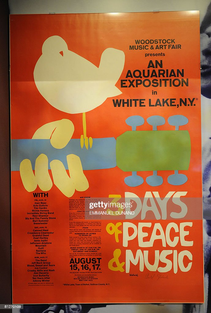 A vintage poster from the Woodstock music festival is displayed at 'The Story of the Sixties and Woodstock' on May 28 2008 at the Museum at Bethel...