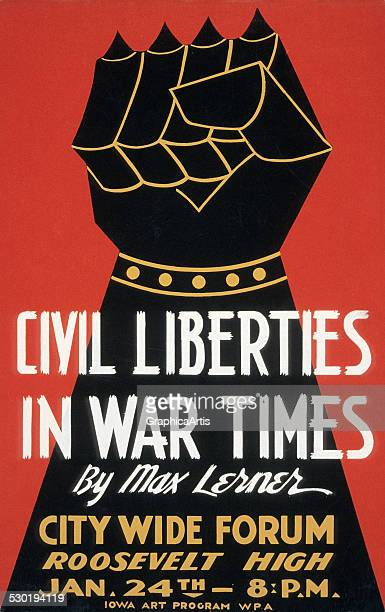 Vintage poster of an armored gauntlet clenched in a fist symbolising the fight for civil liberties in times of war 1940 Created by the US Works...