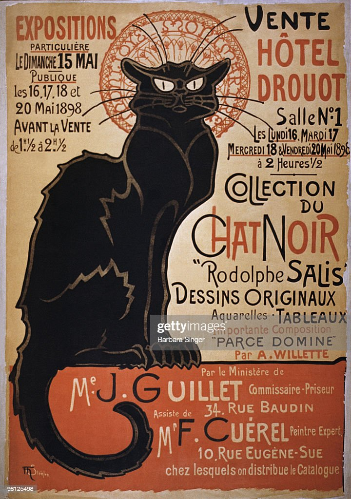 Vintage poster of black cat on a red wall : Stock Photo