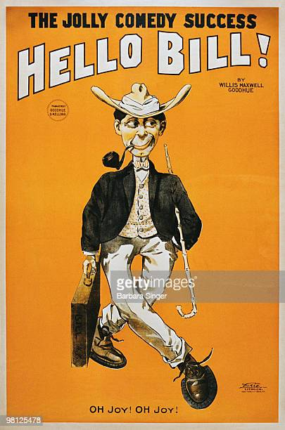 Vintage poster of caricature of man with cane a briefcase
