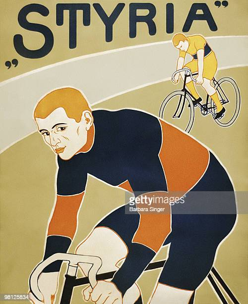 Vintage poster of cyclists riding bicycles
