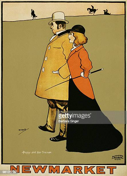 Vintage poster of elegant couple in equestrian field