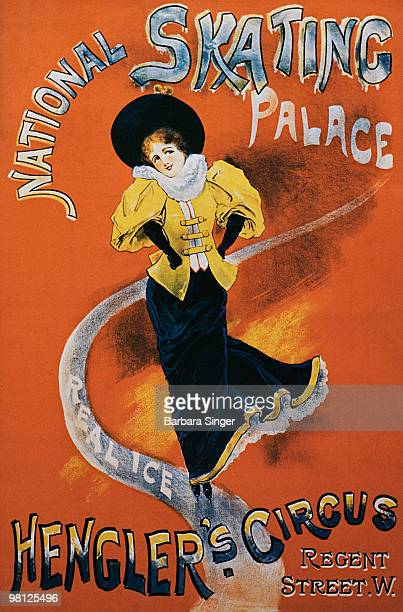 Vintage poster of elegant woman ice-skating