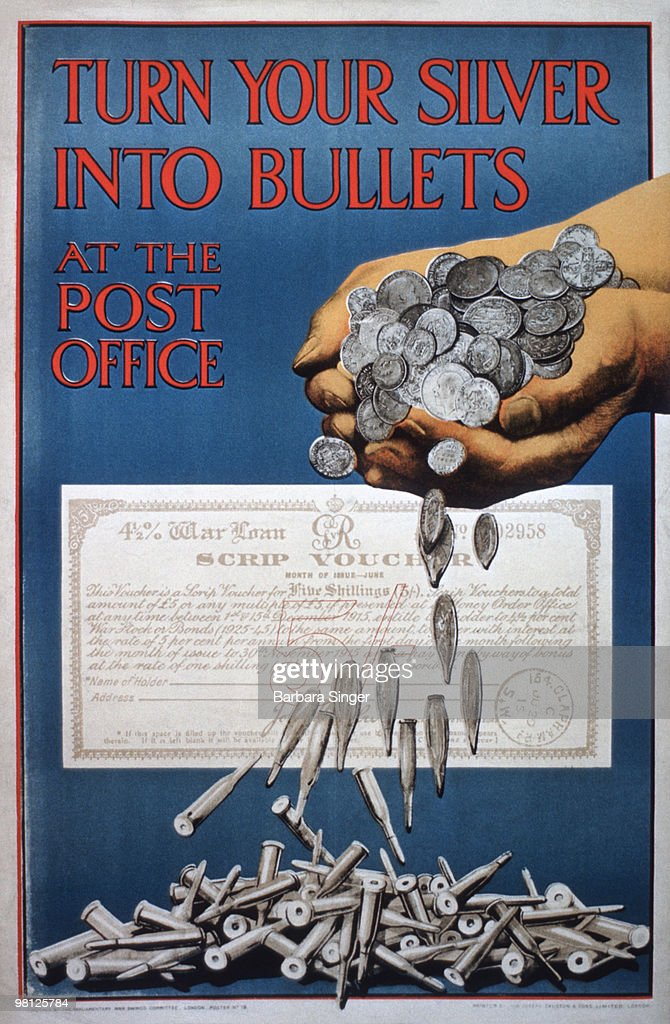 Vintage poster of silver coins turning into bullets : Stock Photo