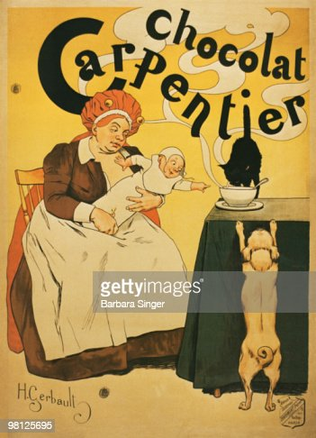 Vintage poster of woman and baby reaching for hot cocoa : Stock Photo