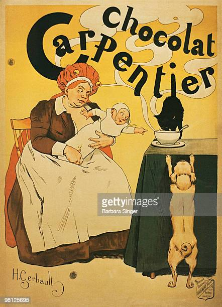 Vintage poster of woman and baby reaching for hot cocoa