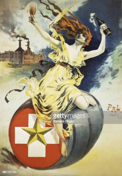 Vintage poster of woman sitting on beer barrel