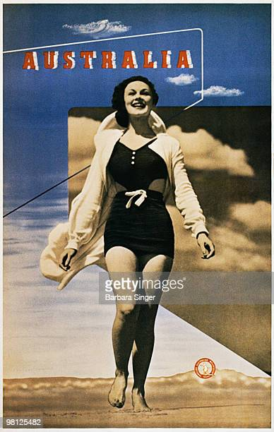 Vintage poster of woman smiling walking on beach