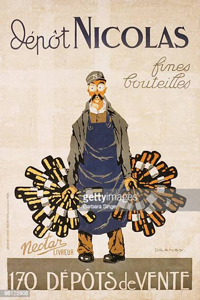 Vintage poster of worker carrying bunches of bottles