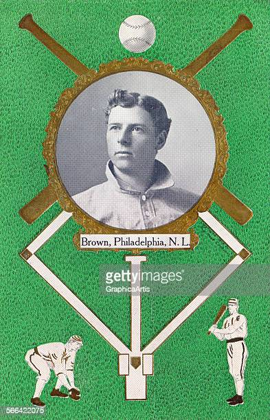 Vintage print of Mordecai 'Three Finger' Brown of the Cubs with a baseball diamond graphic lithograph with halftone print from a photograph 1908
