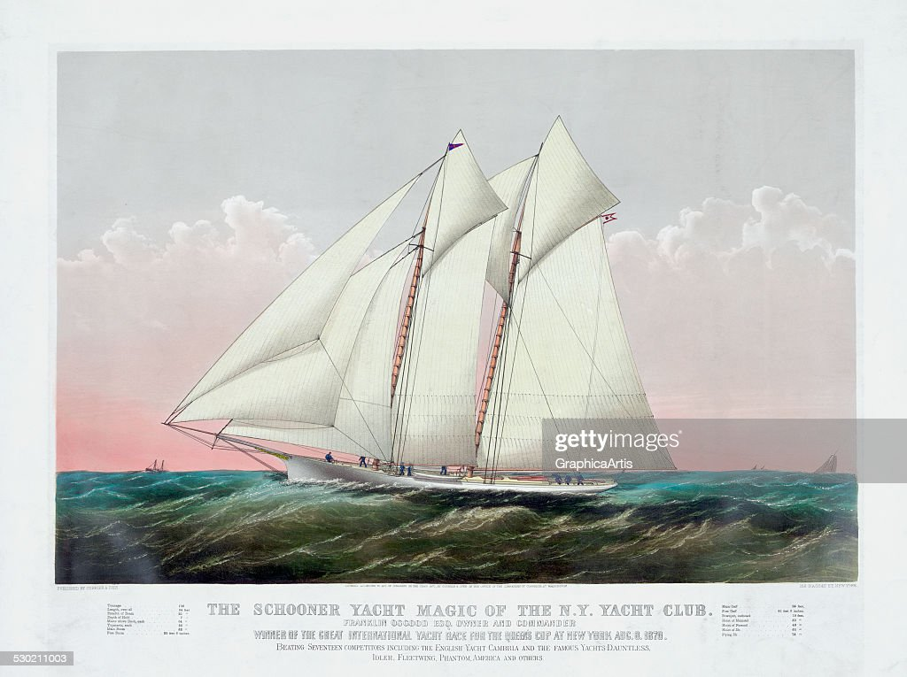 Vintage print of 'The Schooner Yacht Magic of the New York Yacht Club' by Currier Ives 1870